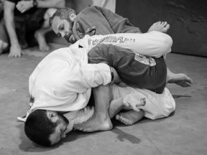 Also known as BJJ, Jiu-Jitsu is a martial art based on ground-fighting, with the goal to find a joint lock or choke hold to make the opponent 'tap out'.